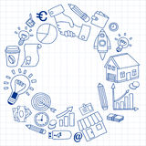Sistema del vector de iconos del negocio del garabato Imágenes de archivo libres de regalías