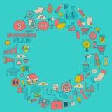 Sistema del vector de iconos del negocio del garabato Imagenes de archivo