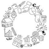 Sistema del vector de iconos del negocio del garabato en el Libro Blanco Foto de archivo libre de regalías