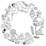 Sistema del vector de iconos del negocio del garabato en el Libro Blanco Imagen de archivo libre de regalías