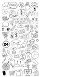Sistema del vector de iconos del negocio del garabato en el Libro Blanco Imágenes de archivo libres de regalías