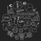 Sistema del vector de iconos del negocio del garabato en la pizarra Fotografía de archivo