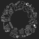 Sistema del vector de iconos del negocio del garabato en la pizarra Imágenes de archivo libres de regalías