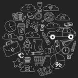 Sistema del vector de iconos del negocio del garabato en la pizarra Foto de archivo