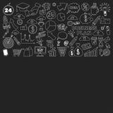 Sistema del vector de iconos del negocio del garabato en la pizarra Imagen de archivo libre de regalías