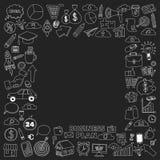 Sistema del vector de iconos del negocio del garabato en la pizarra Foto de archivo libre de regalías
