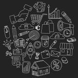 Sistema del vector de iconos del negocio del garabato en la pizarra Fotos de archivo