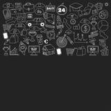 Sistema del vector de iconos del negocio del garabato en la pizarra Fotografía de archivo libre de regalías