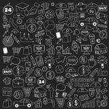 Sistema del vector de iconos del negocio del garabato en la pizarra Imagenes de archivo