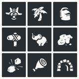 Sistema del vector de iconos del Papuan stock de ilustración