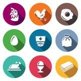 Sistema del vector de iconos del pollo Gallina, gallo, revuelto, huevo, veterinario, saco, plato, hervido, paquete ilustración del vector