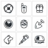 Sistema del vector de iconos del servicio de búsqueda y de rescate Salvavidas, radio, chaleco salvavidas, radar, víctima, pala, p Foto de archivo libre de regalías