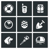 Sistema del vector de iconos del servicio de búsqueda y de rescate Salvavidas, radio, chaleco salvavidas, radar, víctima, pala, p Imagen de archivo libre de regalías