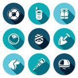 Sistema del vector de iconos del servicio de búsqueda y de rescate Salvavidas, radio, chaleco salvavidas, radar, víctima, pala, p Fotografía de archivo libre de regalías