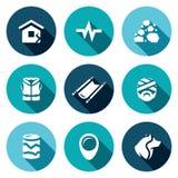 Sistema del vector de iconos del terremoto Destrucción, actividad sísmica, hundimiento de la roca, salvavidas, evacuación, víctim Imagenes de archivo