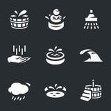 Sistema del vector de iconos del tratamiento de aguas stock de ilustración