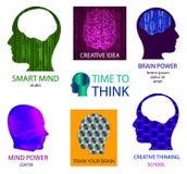 Sistema del VECTOR de iconos: el estudio elegante de la mente, centro de poder de la mente, hora de pensar, idea creativa, poder  Foto de archivo
