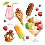 Sistema del vector de iconos estilizados de la comida Foto de archivo libre de regalías