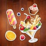 Sistema del vector de iconos estilizados de la comida Fotografía de archivo libre de regalías