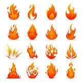 Sistema del vector de iconos del fuego y de la llama Llamas coloridas en el estilo plano ilustración del vector