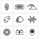 Sistema del vector de iconos hidroeléctricos de la estación Lámpara, presa, río, electricidad, casco, alambre de púas, turbina, b ilustración del vector