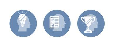 Sistema del vector de iconos: idea, prueba, ganador Plantilla abstracta en la silueta principal Imagen de archivo libre de regalías