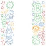 Sistema del vector de iconos de los elementos del espacio en estilo del garabato Pintado, colorido, imágenes en un trozo de papel libre illustration