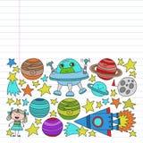 Sistema del vector de iconos de los elementos del espacio en estilo del garabato Pintado, colorido, im?genes en un pedazo de docu ilustración del vector
