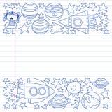 Sistema del vector de iconos de los elementos del espacio en estilo del garabato Pintado, dibujado con una pluma, en una hoja del libre illustration