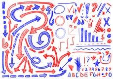 Sistema del VECTOR de iconos mano-bosquejados Elementos para la corrección o el planeamiento del texto color azul y rojo libre illustration