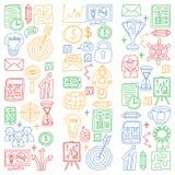 Sistema del vector de iconos del negocio en estilo del garabato Imágenes coloridas en un trozo de papel en el fondo blanco stock de ilustración