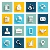 Sistema del vector de 16 iconos planos del negocio Imágenes de archivo libres de regalías