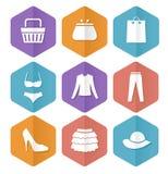 Sistema del vector de iconos planos modernos de la venta. El hacer compras. Fotografía de archivo libre de regalías