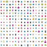 sistema del vector de 240 iconos que hace compras Foto de archivo libre de regalías