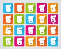 Sistema del vector de iconos sonrientes Foto de archivo libre de regalías