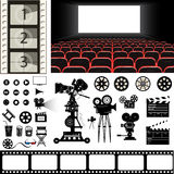 Sistema del vector de iconos y de materia del tema del cine stock de ilustración