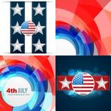 Sistema del vector de illu americano del fondo del Día de la Independencia del 4 de julio ilustración del vector