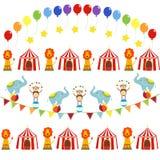 Sistema del vector de imágenes temáticas del circo lindo ilustración del vector