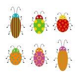 Sistema del vector de insectos lindos de la historieta Diversos escarabajos en un fondo aislado Ilustraci?n divertida stock de ilustración