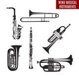 Sistema del vector de instrumentos musicales del viento blanco y negro en diseño flar ilustración del vector