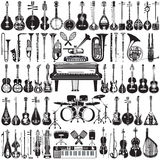 Sistema del vector de instrumentos musicales en estilo plano stock de ilustración