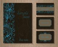 Sistema del vector de invitaciones de las plantillas o de tarjetas de felicitación con la decoración Imagen de archivo libre de regalías