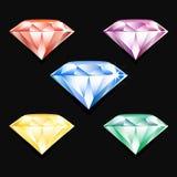 Sistema del vector de joyas brillantes coloridas Fotografía de archivo libre de regalías