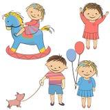 Sistema del vector de jugar de los niños Fotos de archivo libres de regalías