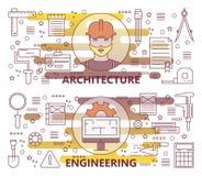 Sistema del vector de línea fina moderna arquitectura y de banderas de la ingeniería stock de ilustración