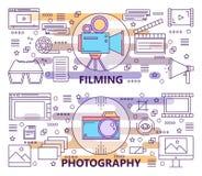 Sistema del vector de línea fina moderna fotografía y de banderas de la película ilustración del vector