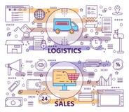 Sistema del vector de línea fina moderna logística y de banderas de las ventas libre illustration