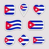 Sistema del vector de la bandera de Cuba Colección cubana de las etiquetas engomadas Iconos geom?tricos aislados Insignias de los stock de ilustración