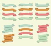 Sistema del vector de la bandera de la voluta de la cinta stock de ilustración