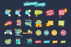 Sistema del vector de la bandera del tiempo de las compras Foto de archivo